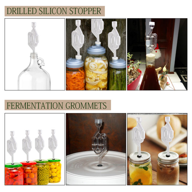 Air Lock in Fermentation,5 pcs S-shape Air Locks with Silicone Rubber Stopper & Grommets,Food Grade Fermentation Seal Valve