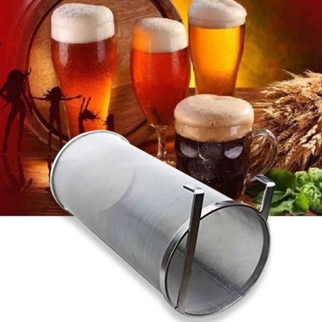 4 Sizes Stainless Steel Homemade Brew Beer Hop Mesh Filter Strainer with Hook Beer Brewing Hop Spider Mesh Filter Strainer