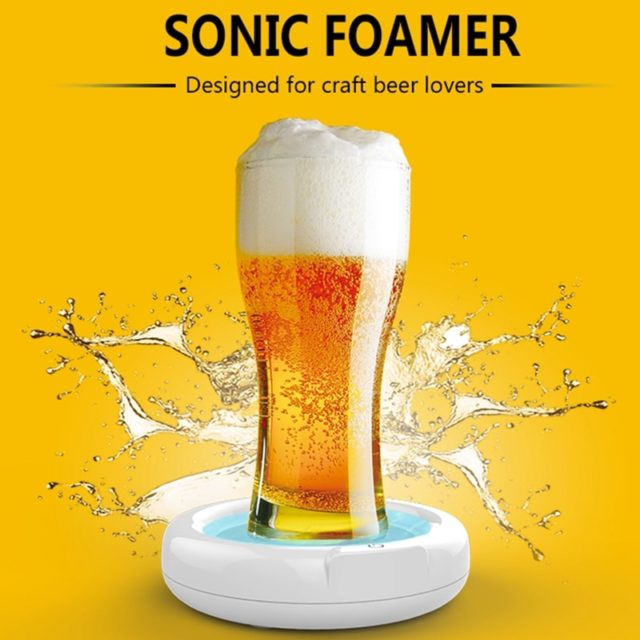 Beer Bubbler Household Supersonic Foaming Machine Portable Beer Foam Maker Sonic Foamer for Ice Beer Camping Beer