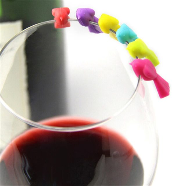 6PCS Silicone Bird Tits Wine Glass Mark Wine Glass Recognizer Cup Distinguisher(Mixed Color)