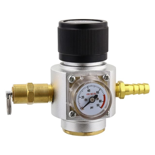 Carbonation Gas Line Assembly for Beer Making Soda Water,0-90 PSI Gauge CO2 Regulator & PVC Tube & Ball Lock Beer Line Assembly