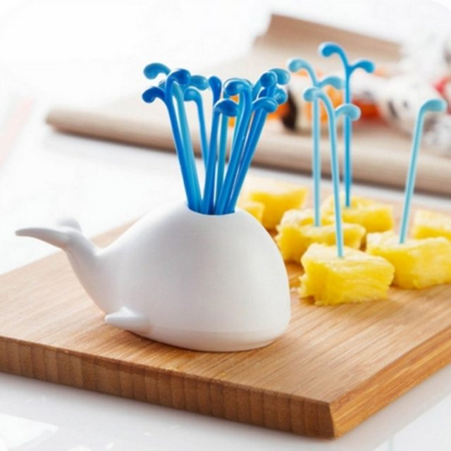 1 Set Cute Beluga White Whale Kitchen Accessories Cooking Fruit Vegetable Tools Gadgets For Party Home Decor Hall Fruit Fork Set