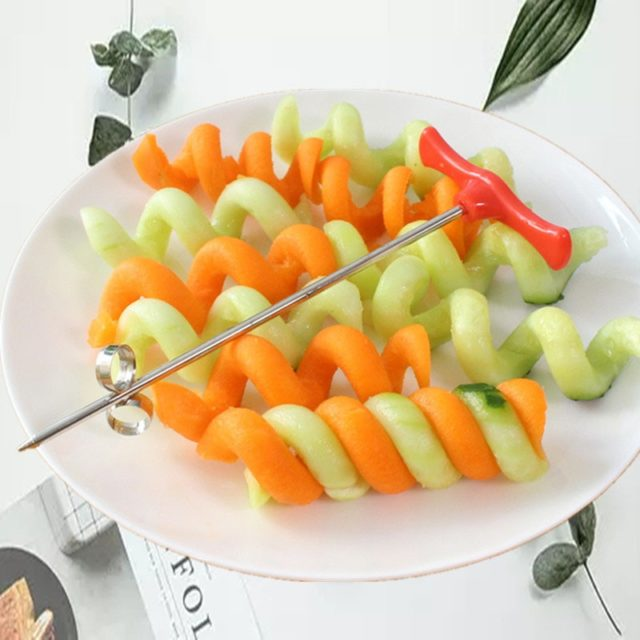 Manual Spiral Screw Slicer Plastic PP Handle + Stainless Steel Wire Potato Carrot Cucumber Vegetables Spiral Knife Carving Tools