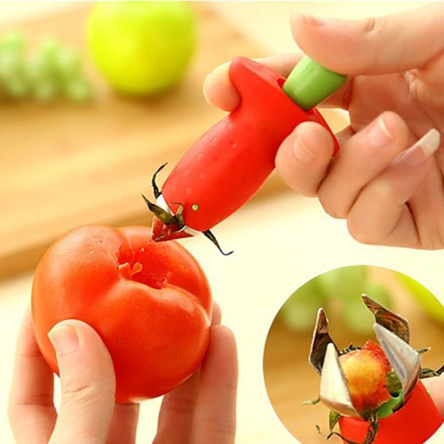 Strawberry Hullers Metal Plastic Fruit Leaf Remover Gadget Tomato Stalks Strawberry  Knife Stem Remover Kitchen cooking Tool
