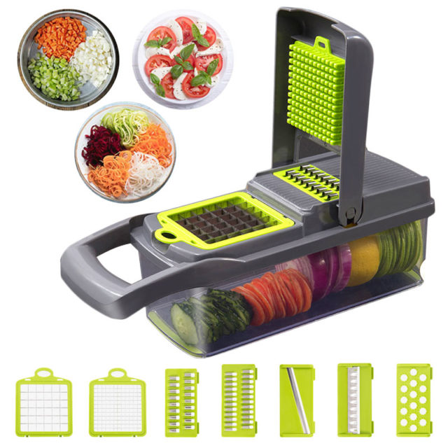 Upgrade Multifunction Vegetable Cutter Kitchen Gadgets Garlic Press Steel Blade Potato Peeler Carrot Grater Kitchen Accessories