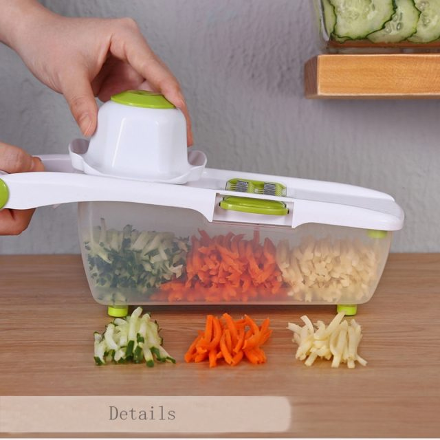 Mandoline Slicer Vegetable Cutter With 8 Pieces Stainless Steel Blade Potato Peeler Carrot Grater Multifunctional  Kitchen Tool
