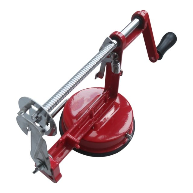 SHENHON Manual Red Machine Vegetable Spiraliz Stainless Steel Twisted Potato Apple Slicer Spiral French Fry Cutter Cooking Tools