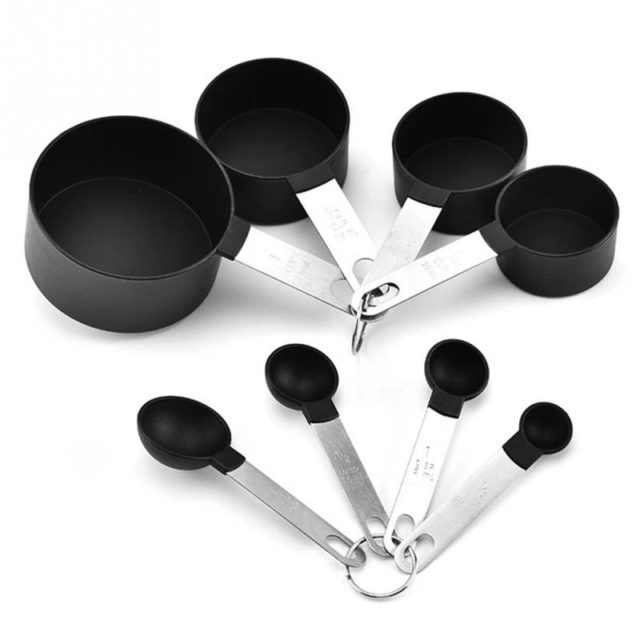 8Pcs/Set Kitchen Measuring Cups and Spoons Set with Stainless Steel Handle Grip Perfect for Baking Tools Bakeware Kitchen Tools