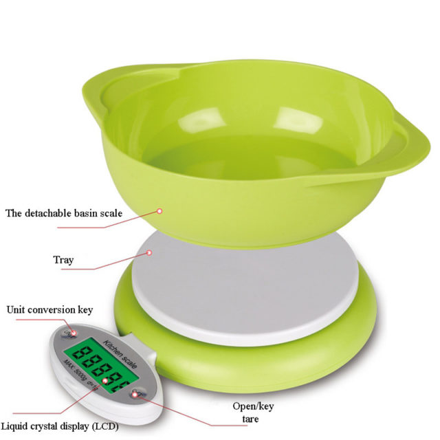 5KG/1g LCD Display Electronic Kitchen Scale Electronic Kitchen Food Diet Postal Balance Scale Weight Tool with Tray Green