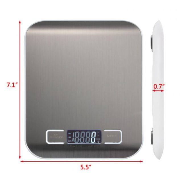 Professional Touch Digital Kitchen Scale Electronic Food Scales Measuring Tools/ LCD Display & Stainless Steel Platform