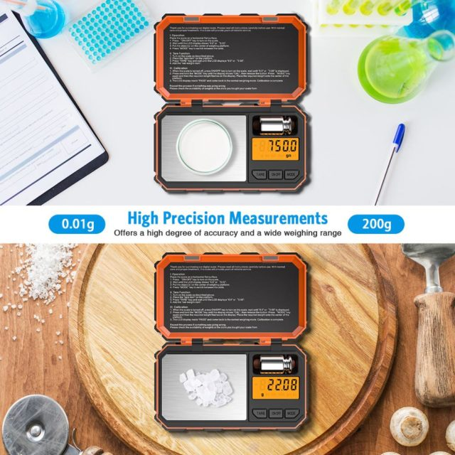 Digital Mini Scale 200g 0.01g Pocket Scale with 50g Calibration Weight Electronic Smart Scale for Food Tablets Jewelry