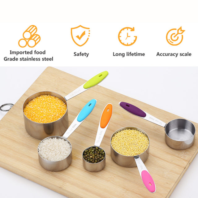 Measuring Cup Stainless Steel Kitchen Measuring Spoon Scoop For Baking Tea Coffee Kitchen Accessories Measuring Tool Set