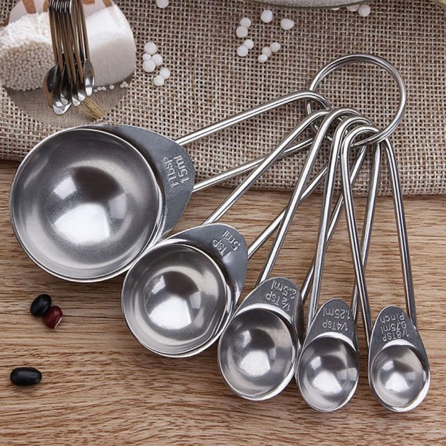 1Set of Measuring Spoons 5PCS Stainless Steel Measuring Baking Spoons Cooking Cups Teaspoons Utensil H5