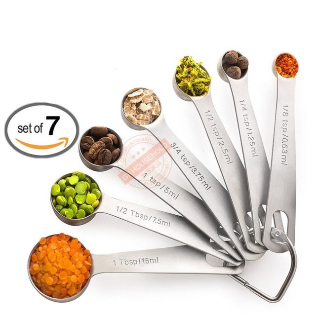 14Pcs -Stainless Steel Metal Measuring Spoons and Cups Set 7 Cup and 7 Spoon Cooking Baking Kitchen Accessories Measuring Tools