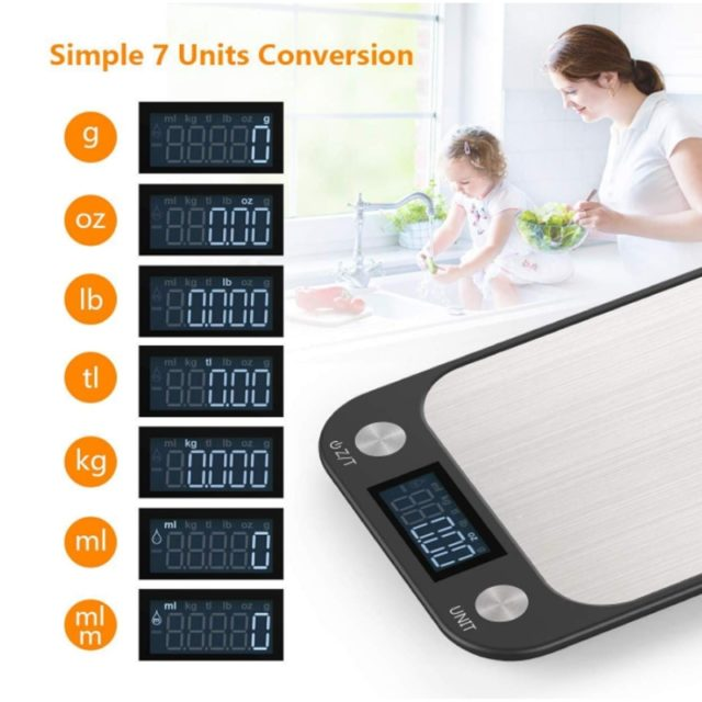Digital Multi-function Food Kitchen Scale 5kg/1g Stainless Steel Electronic scales LCD Display digital scale for Household black
