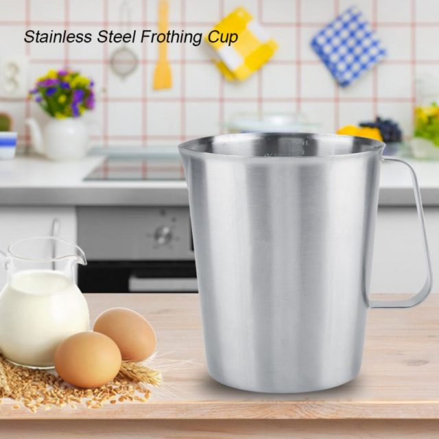 High Quality 2L Large Thicker Stainless Steel Measuring Bucket Milk Frothing Jug For Coffee Art Kitchen Bar Measuring Tools