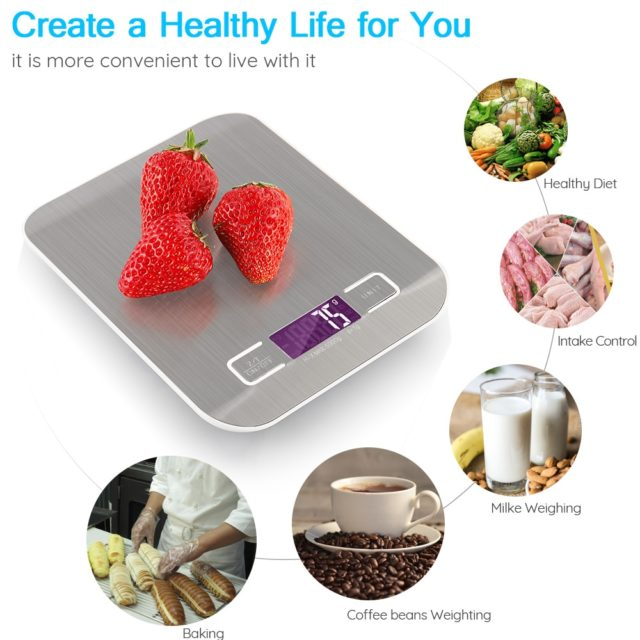 Portable USB LCD Electronic Kitchen Scales balance Cooking Measure Tools Digital Stainless Steel digital Weighing Food scale