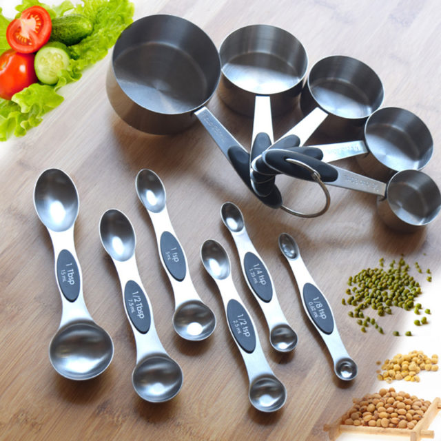 11 PCS Stainless Steel Measuring Cups Measuring Spoon Eleven Sets of Seasoning Spoon Baking Measuring Cups