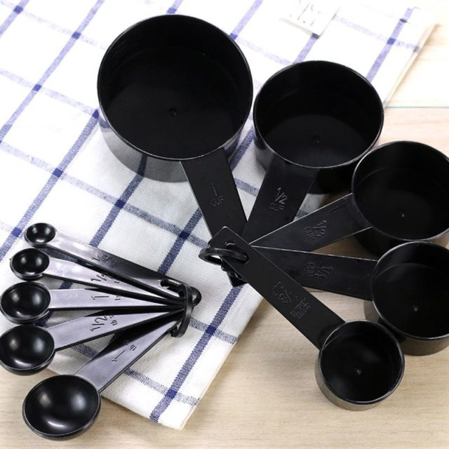10pcs Black Color Measuring Cups and Measuring Spoon Scoop Silicone Handle Kitchen Measuring Tool DropShipping