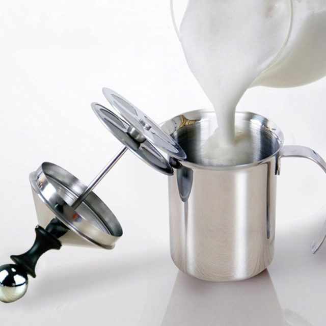 400/800ML Stainless Steel Milk Frother Pump Coffee Mixer Milk Foamer Cappuccino Latte Double Mesh Delicate Foam For Coffee Tools