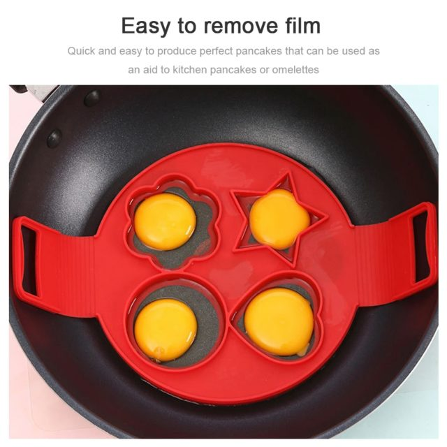 DIY 4 Holes Fried Pancakes Eggs Fixator Pancake Maker Egg Ring Silicone Nonstick Cooking Baking Stencil Muffin Pastry Mould Tool
