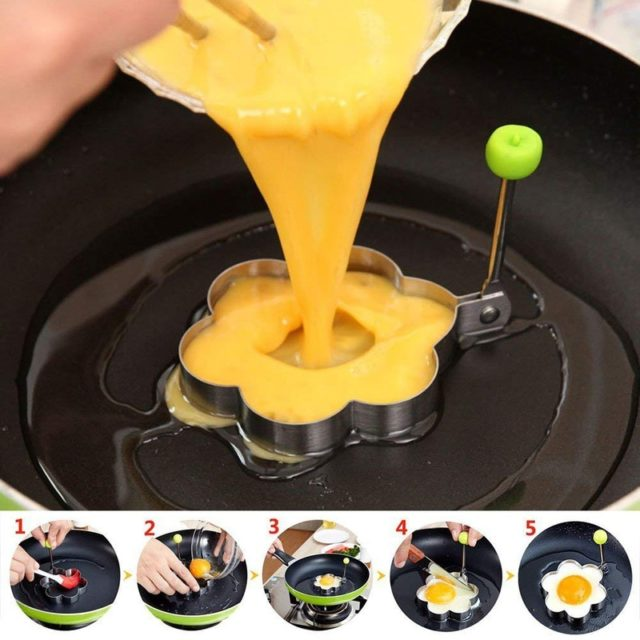 1Pc DIY Stainless Steel Fried Egg Shaper Pancake Rings Mould Egg Beater Slicer Mold Kitchen Cooking Tools Gadgets Accessories