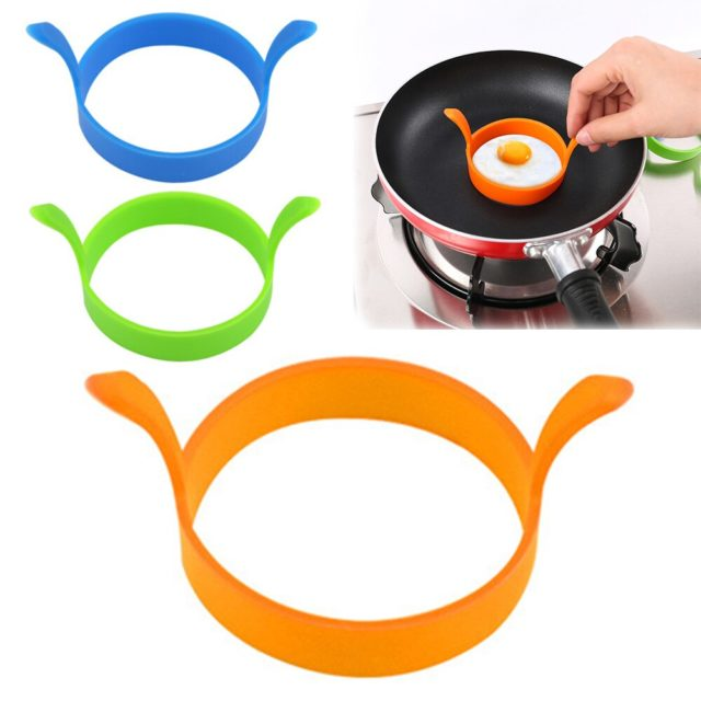 2 Pcs Round Egg Rings Silicone Pancake Mold Ring With Handles Nonstick mold Frying Tool Baking Accessory Kitchen Gadgets 3color