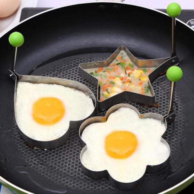Stainless Steel Fried Egg Holder Kitchen Utensils Egg Cooker Silicone Mold Non-stick Skillet Kitchen Tools Accessories