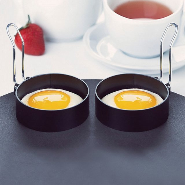 1PC Nonstick Stainless Steel Fried Egg Mold with Handle Round Pancake Molds Eggs Frying Mould Kitchen Tools