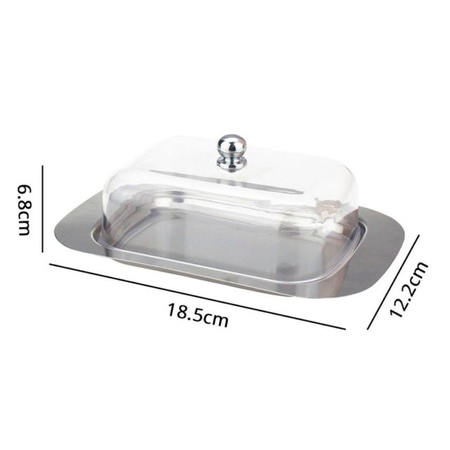 Butter Dish Cheese Box keeper Container Storage With See-through Acrylic Lid Stainless Steel Tray Butter Cream Container Plate