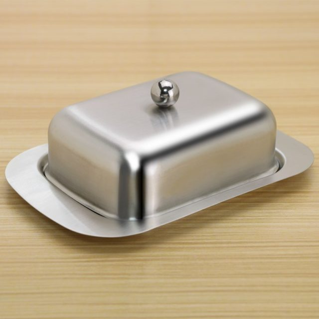 Stainless Steel Butter Dish Box Container Cheese Server Storage Keeper Tray with Gold Lid Fruit Salad Cheese Dish Box Case