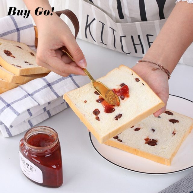 1pc Butter Knife Food Grade 304 Stainless Steel Dessert Jam Spreaders Cream Cheese Knife 8 Colors Western Cutlery Breakfast Tool