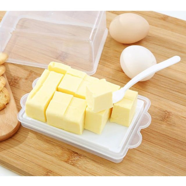 Plastic Butter Storage Box Container Transparent Cheese Server Keeper Tray With Knife & Partition Japan Original Butter Dish Box