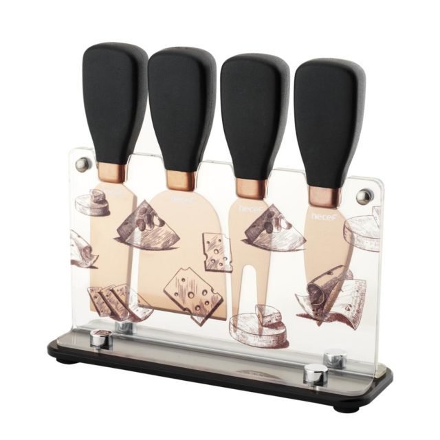 Hecef Cheese Knife Gift Set 5PCS Stainless Steel Cheese Fork, Cheese Shovel, Cheese Knives & Acrylic Stand
