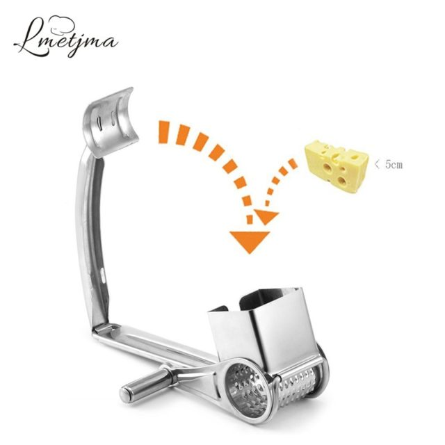 LMETJMA 3 Drums Set Rotary Cheese Grater Stainless Steel Cheese Slicer Kitchen Cheese Butter Slicer Nut Chocolate Grinder KC0003