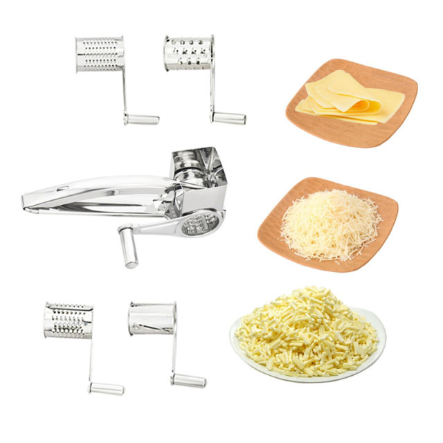 4 Drums Blades Rotary Cheese Grater Stainless Steel Cheese Slicer Shredder Butter Cutter Kitchen Gadgets