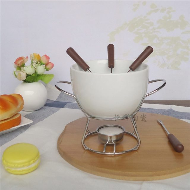 Ceramic Chocolate Fondue Set Cheese Knife Warmer Chocolate Pot On a Metal Stand Chocolate Fondue Utility For Home Cooking tools