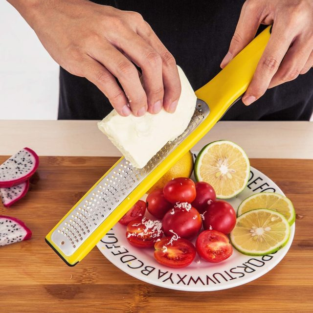 Citrus Lemon Zester & Cheese Grater with Catch Container for Cheese, Lemon, Ginger, Garlic, Vegetables, Fruits