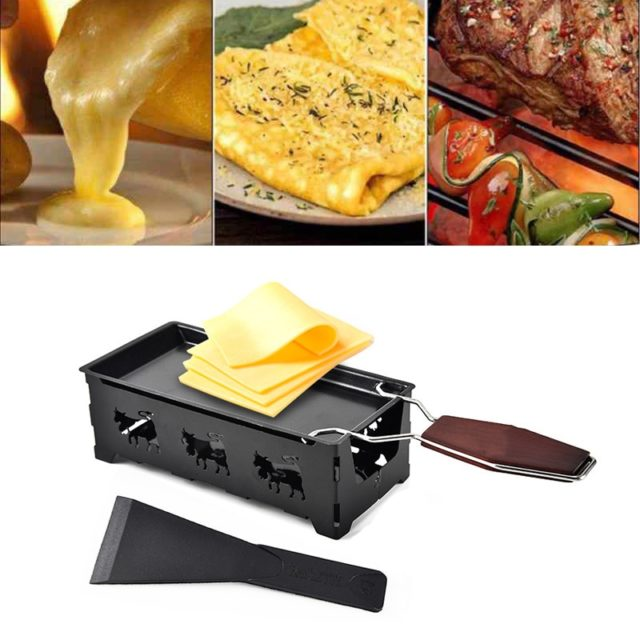 Grill Cheese Raclette Set Non-stick Griller Mini BBQ Cheese Board Baked Cheese Oven Iron Swiss Cheese Melter Pan Tray