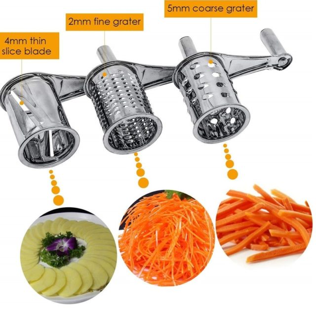 Rotary Cheese Grater Vegetable Cutter Slicer Shredder with 3 Interchanging Rotary Cylinders Stainless Steel Drums & Slicer