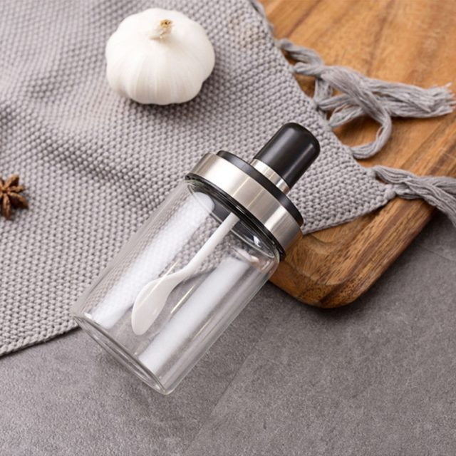 3pcs/1pc Glass Airtight Jar Spice Containers Bottle Condiment Salt Pepper Seasoning Storage Bottle Spice Jars Pot with Spoon Lid