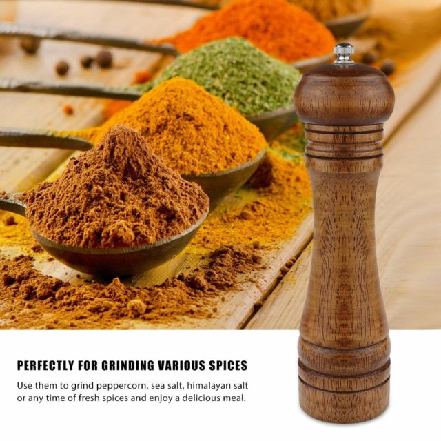 LMETJMA Wood Salt Pepper Mill and Magnetic Spice Jars Set Pepper Grinders Salt Shakers with Adjustable Ceramic Rotor KC0215