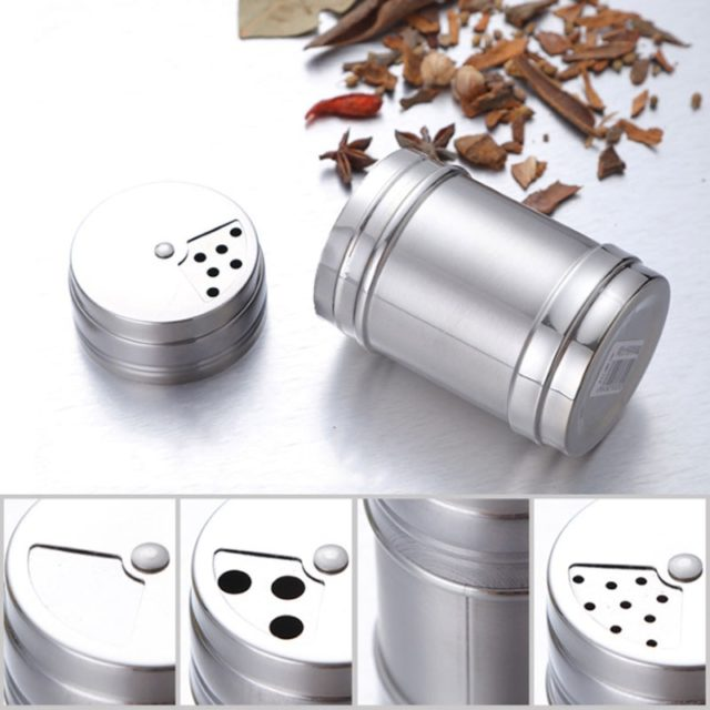 Spice Jar Rotating Cover Salt Sugar Bottle Multi-purpose Spice Pepper Shaker Seasoning Can  Stainless Steel Kitchen Gadgets 1Pc