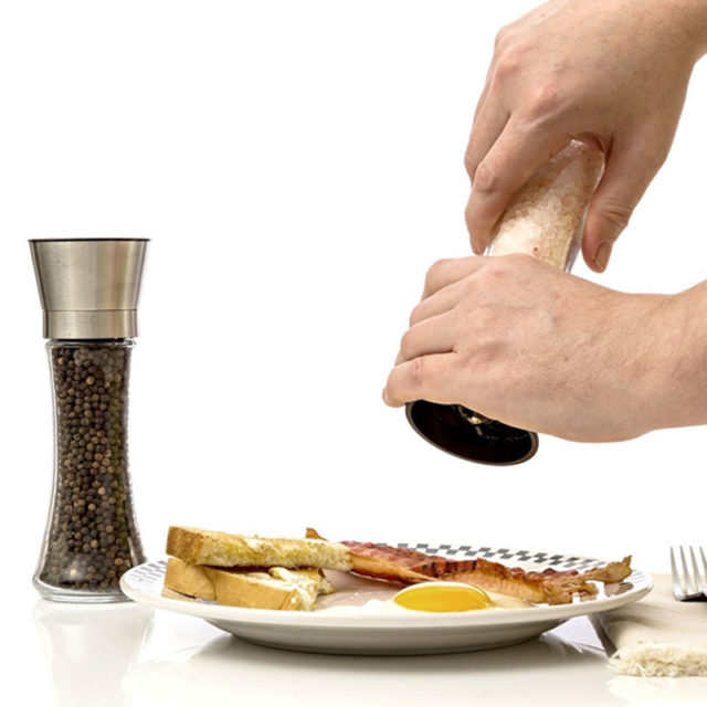 2Pcs/Set Salt and Pepper Grinder Set - Stainless Steel Pepper Mill and with Glass Body and with Adjustable Ceramic Grinder