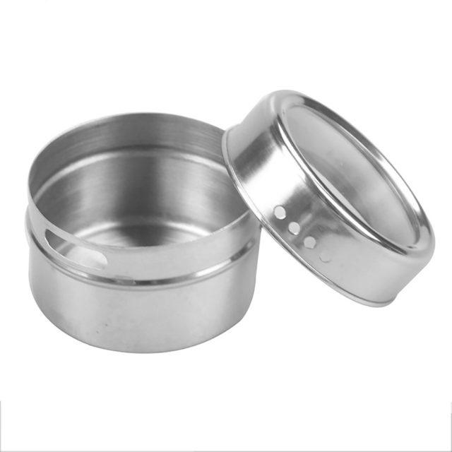8 pcs / 12 pcs Seasoning Boxes Magnetic Dustproof Visible Stainless Steel Spice Can Seasoning Pot Outdoor Barbecue Cruet