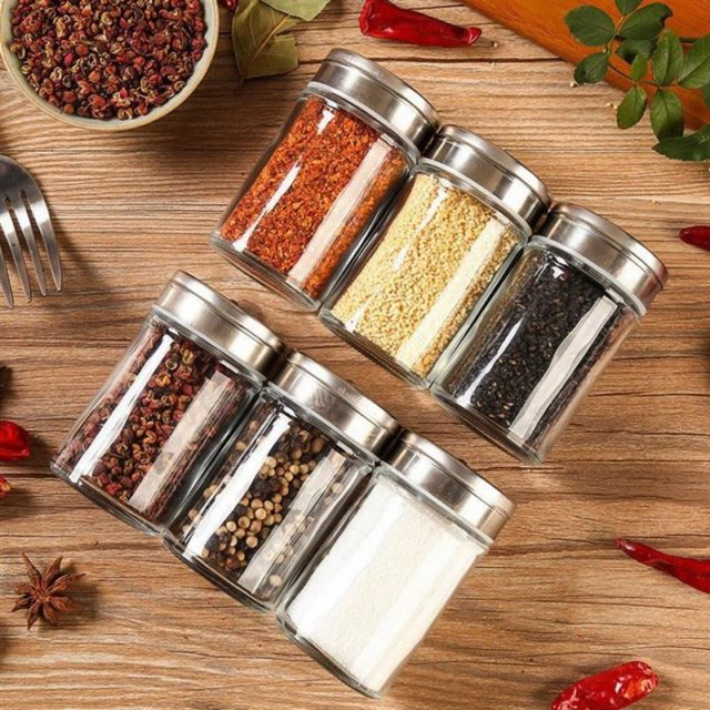 3/6pcs Stainless Steel Lid Condiment Pot Seasoning Bottle Glass Kitchen Supplies And Materials Saltcellar Rotational Regulation