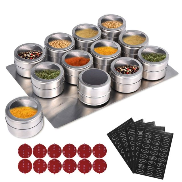 LMETJMA Magnetic Spice Jars With Wall Mounted Rack Stainless Steel Spice Tins Spice Seasoning Containers With Spice Label KC0305