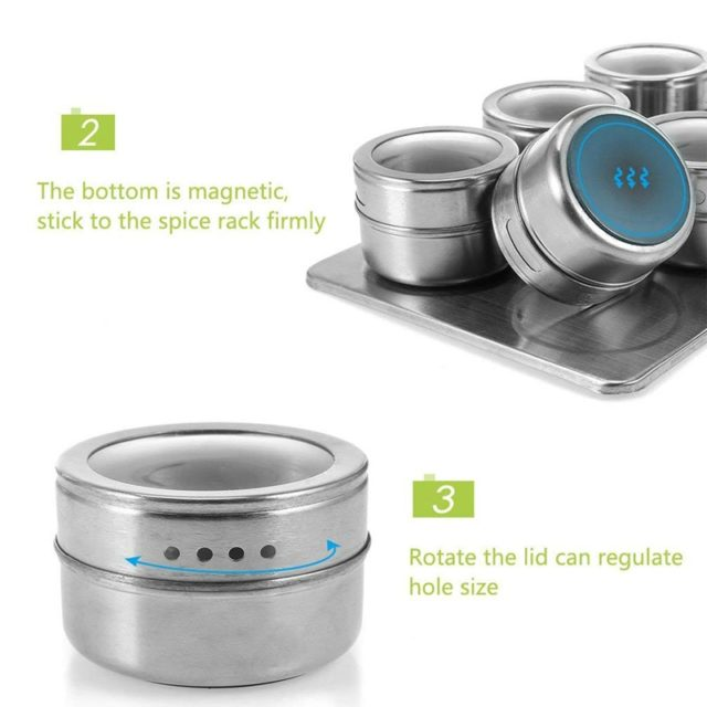 6/9Pcs Magnetic Spice Jars Set 304 Stainless Steel Salt Pepper Spray Shakers Storage Tins Rack Seasoning Box Condiment Container