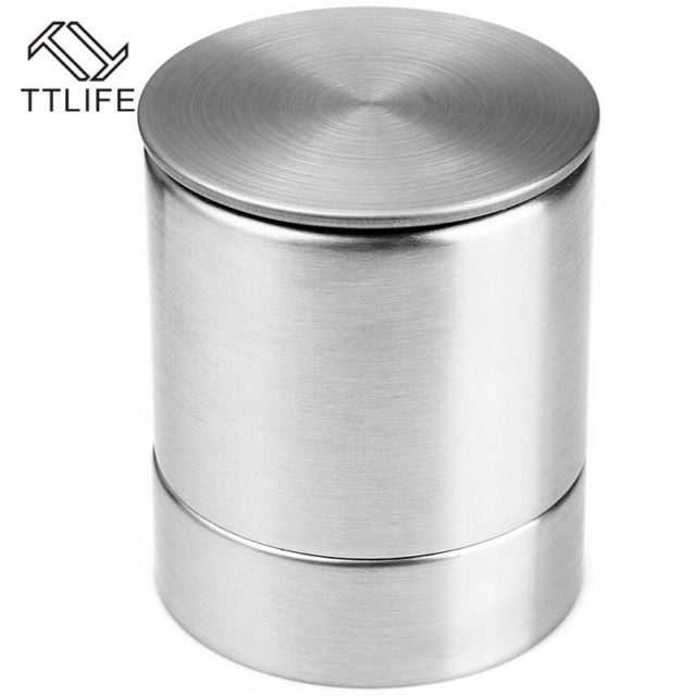 TTLIFE 2 IN 1 Spice and Pepper Shakers Premium Salt Shaker Spice Jars Stainless Steel Pepper Grinder Mill Salero Cooking Tool
