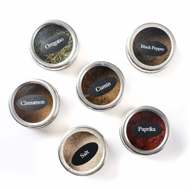 Stainless Steel Magnetic Spice Jars Tins Container Set with Clear Lid Labels Magnetic Spice Tins Jars Seasoning Pepper Organizer